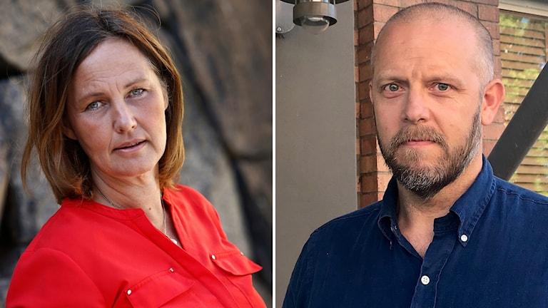 Tvådelad bild: Till vänster en kvinna klädd i röd blus. Till höger en man klädd i marinblå skjorta.