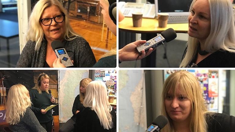 Fyra mindre bilder på fyra kvinnor i ett collage