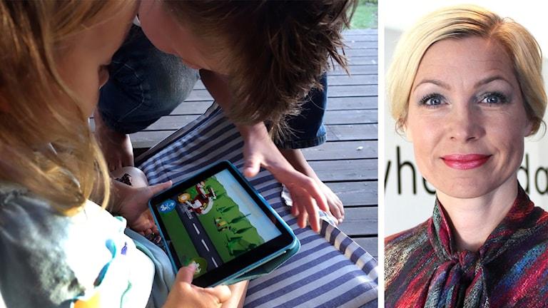 Barn som leker med läsplatta samt närbild på blond kvinna