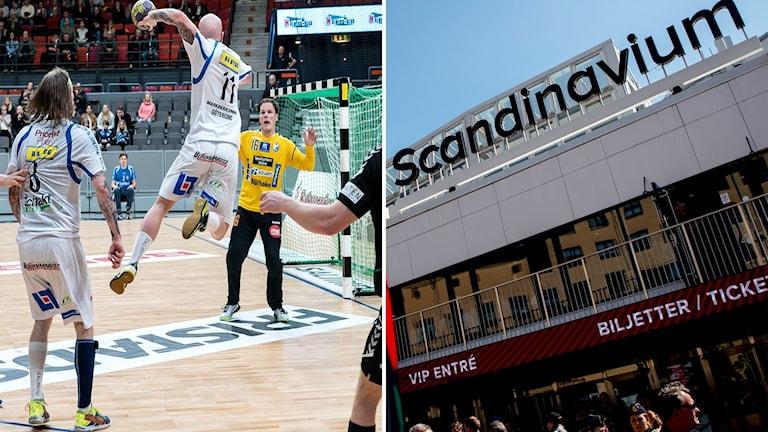 Tvådelad bild: Till vänster spelar två lag handboll. Till höger syns fasaden till arenan Scandinavium.
