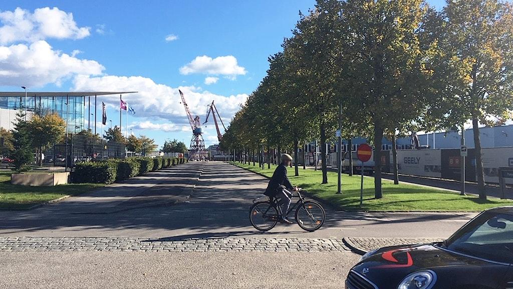 En cyklist och en bil på en gata.