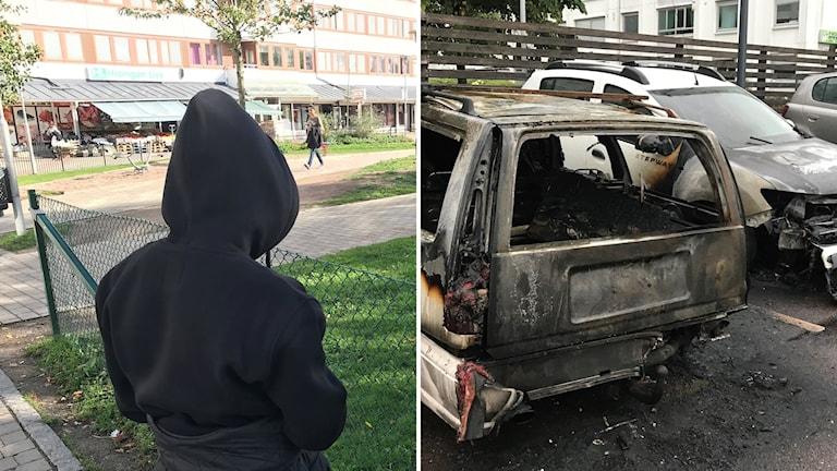 En bild på en ung kille bakifrån samt en bild på en utbränd bil.