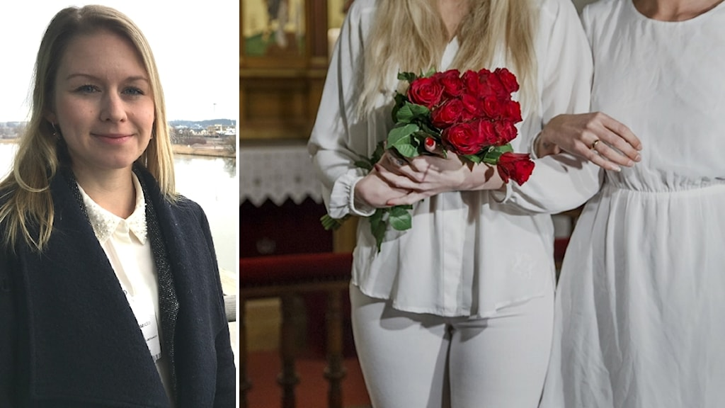 Jenny Jernberg Ralphsson till vänster. Till höger två kvinnor i vita kläder som gifter sig.