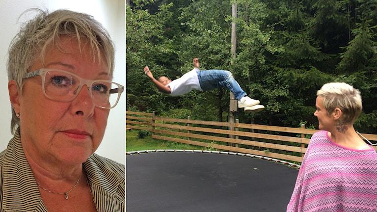Pojke som hoppar med mamma och infälld bild med kvinna