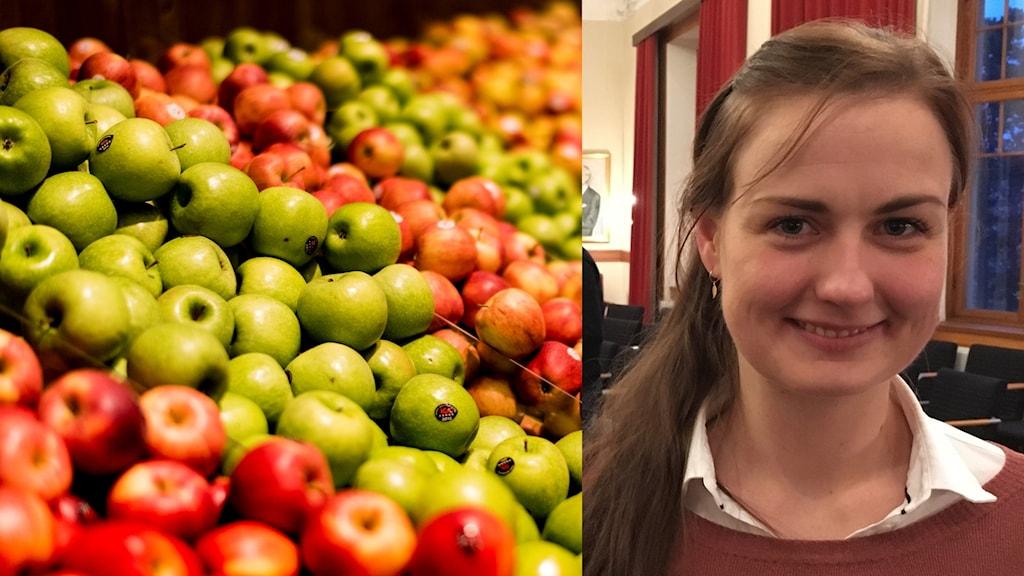 Närbild på kvinna infälld i en bild på frukt