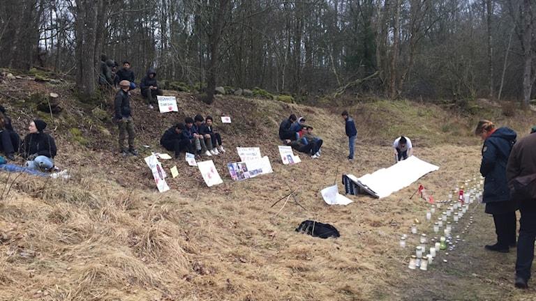 I ett skogsbryn sitter ett 10-tal personer med plakat och mellan 50-100 ljuslyktor