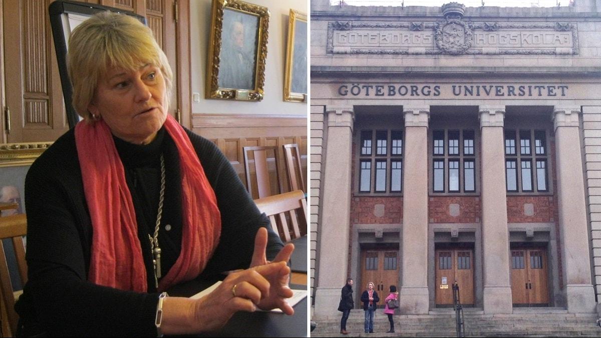 Pam Fredman i rutan till vänster. I den högre en bild på Göteborgs universitet.