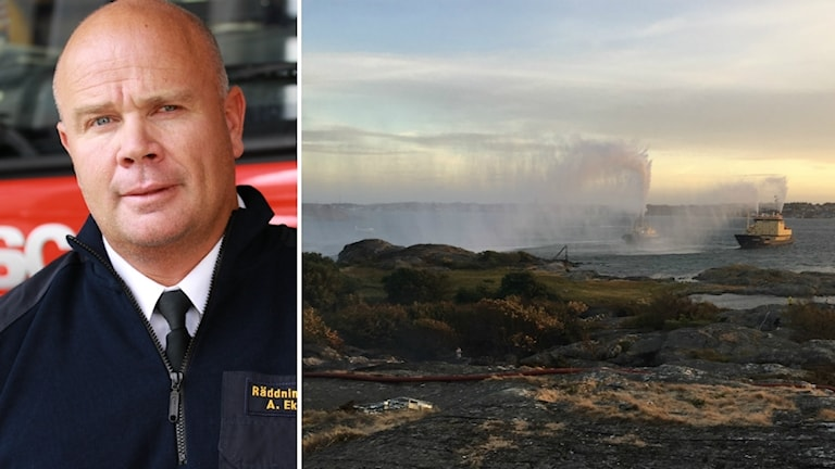 Tvådelad bild med Anders Ekberg och på båtar som skjuter vatten över Björkö under branden.