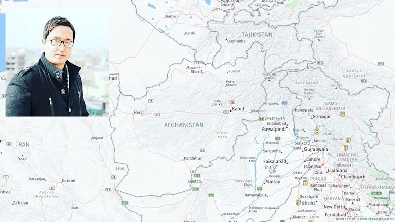 En karta över Afghanistan. Infälld en bild på en man.