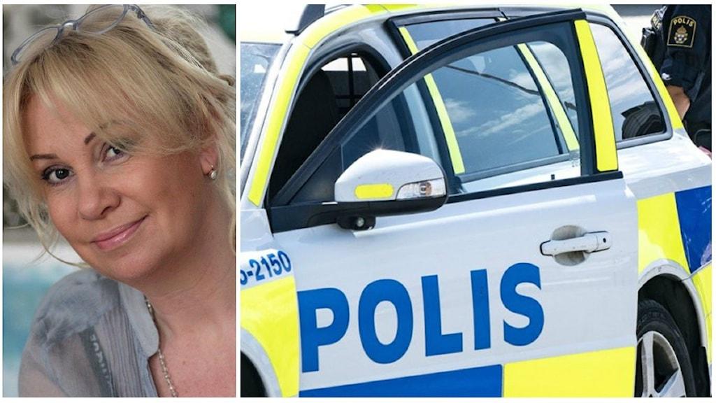 Ehwa Lindström bredvid en polisbil