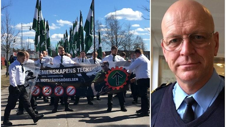 Nordiska motståndsrörelsen under 1 maj i Falun. Till höger polisområdeschef Erik Nord.
