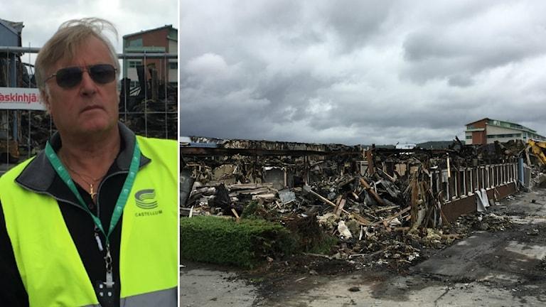 Hyresvärden Castellums västs brandskyddsansvarige Tony Enfjord på plats efter storbranden på Kryptongatan i Mölndal.