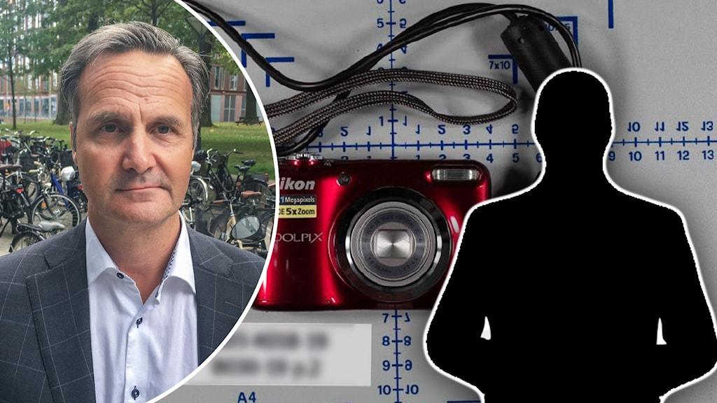 Domare med efternamn Hagelin bredvid en siluett på en man och en kamera.