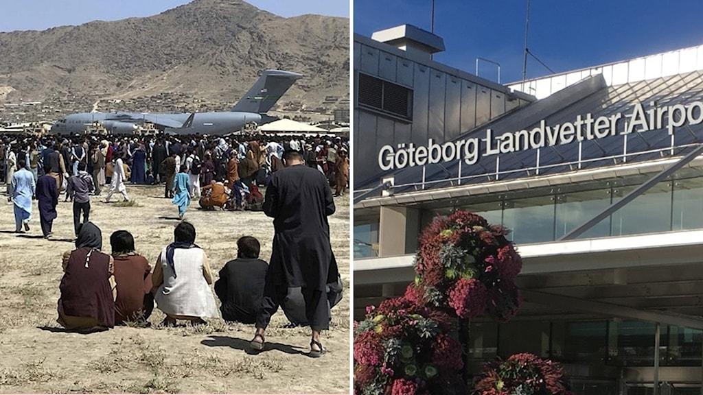 Kabuls flygplats och skylten ovanför Göteborg Landvetter flygplats
