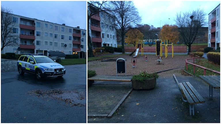 Två bilder sida vid sida. En polisbil som står framför en lägehetslänga. Andra bilden är på en lekplats i regn.