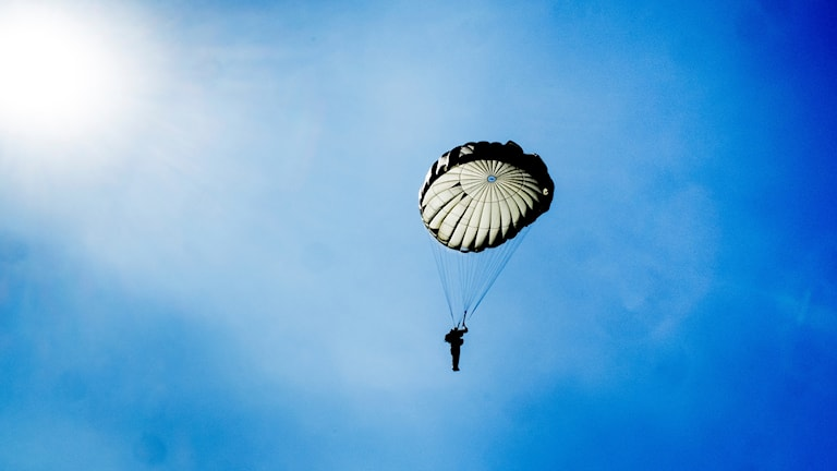 Bild av fallskärmshoppare i motljus.