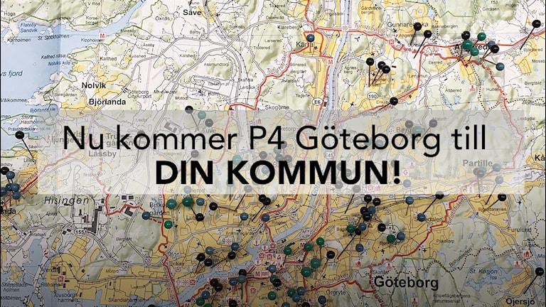 """En karta med text """"Nu kommer P4 Göteborg till Din Kommun""""."""