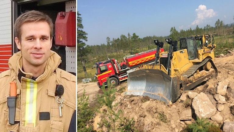Kristoffer Wahter till vänster och till höger syns bulldozern som används under räddningsinsatsen.