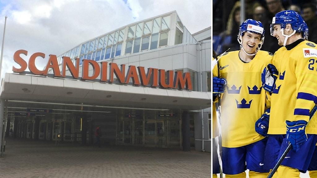 Scandinavium till vänster och glada ishockeyspelare i blågult till höger.