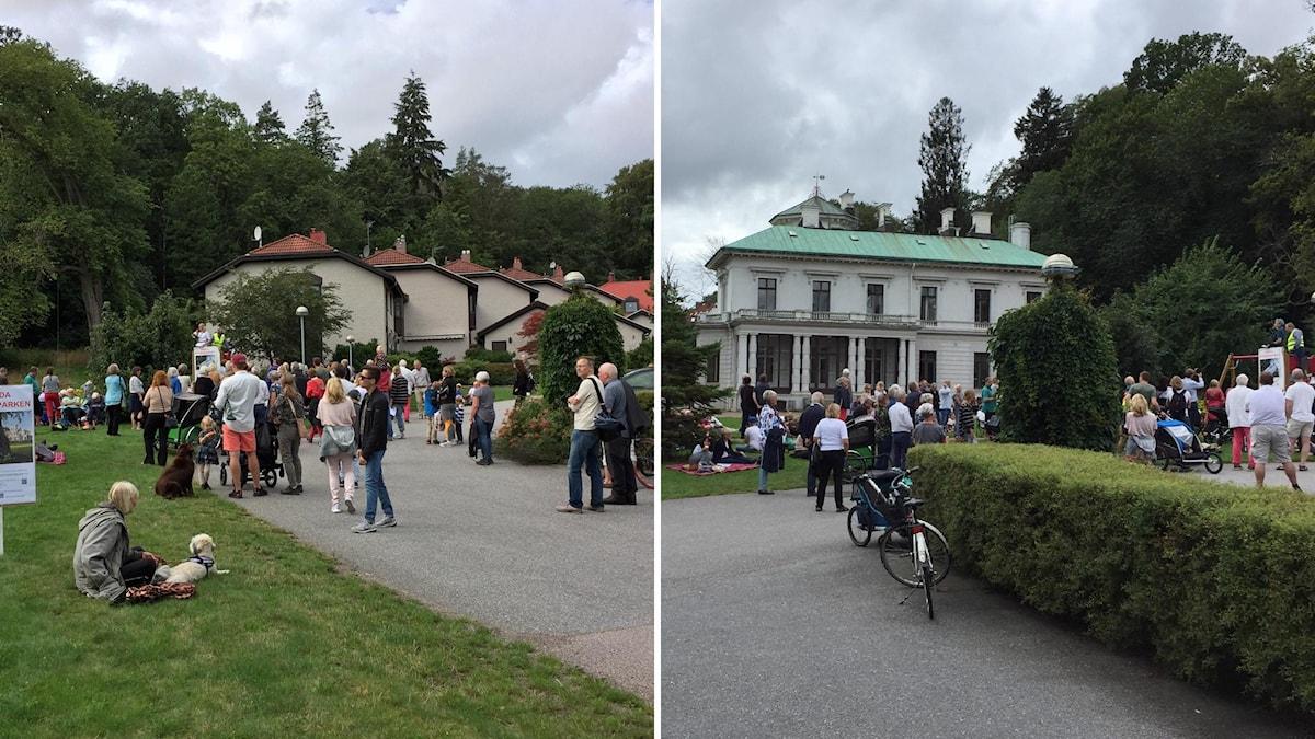 Tvådelad bild från Överåsparken. Folk utanför byggnaderna.