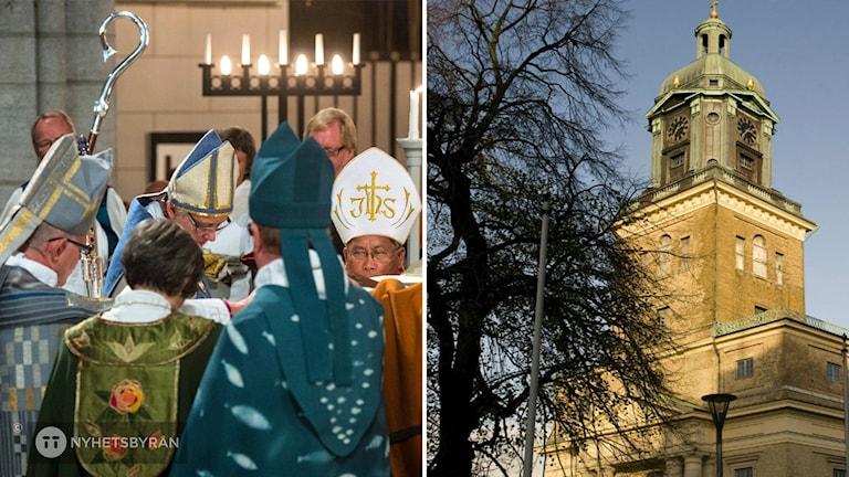 Till vänster flera biskopar. Till höger Göteborgs domkyrka.