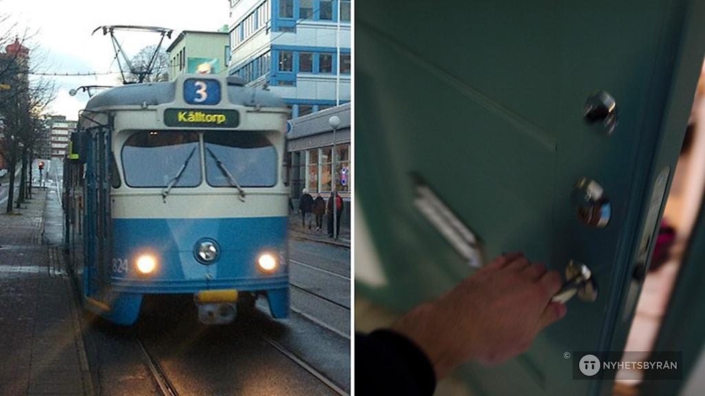 en spårvagn. och en mans hand som öppnar en dörr