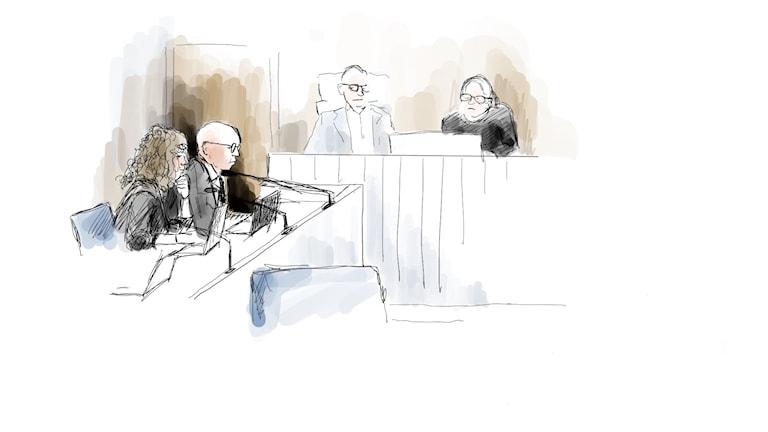 Tecknad bild från rätten.
