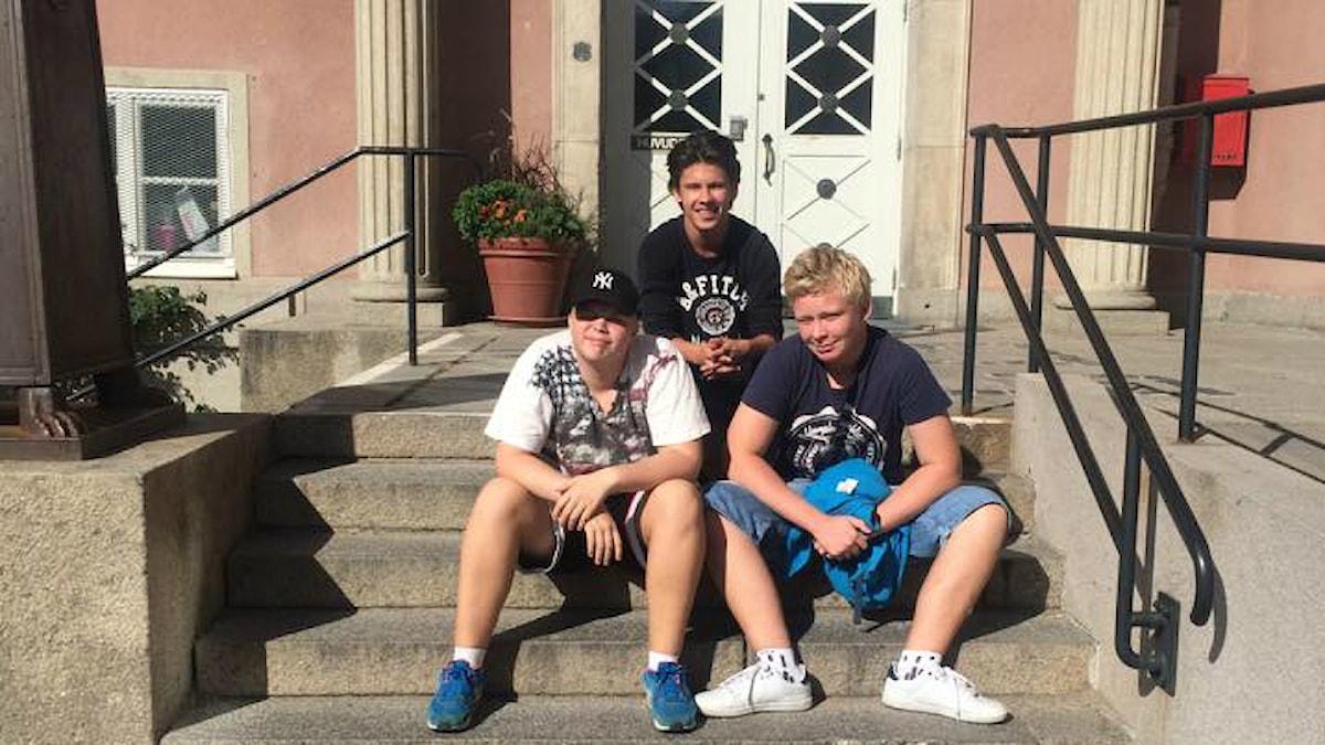 Hampus Winborg, Maxim Fagerström, Wiktor Lundh foto: Noona Ensani/Sveriges Radio