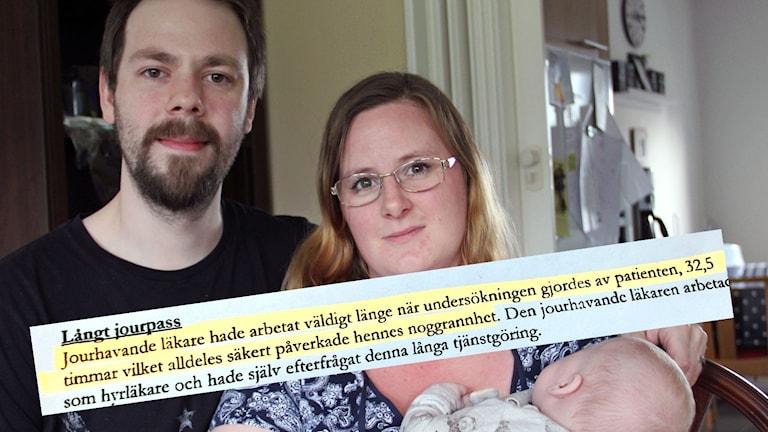 En bild på Cecilia, hennes man och deras barn och ett utdrag från Landstingets egen text om fallet.