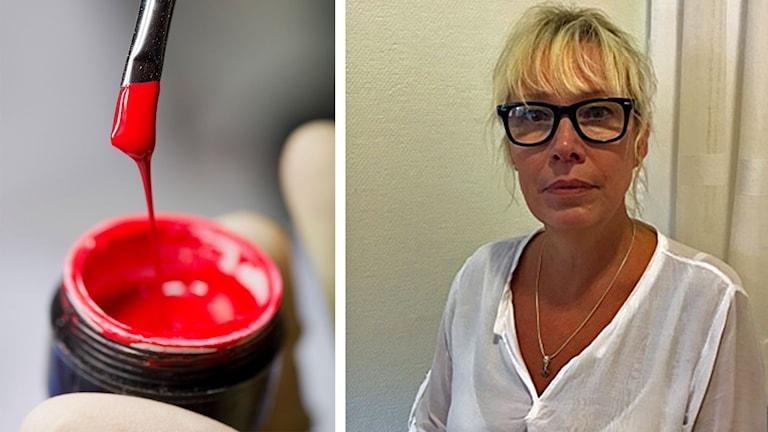 En bild på Maud Janzon som är medicinskt ansvarig sjuksköterska i Olofström och en bild på en burk nagellack.