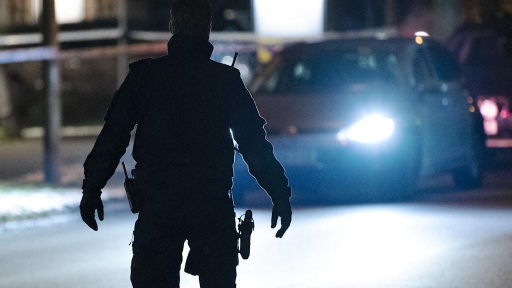 Siluett av en polis. Foto: Johan Nilsson / TT