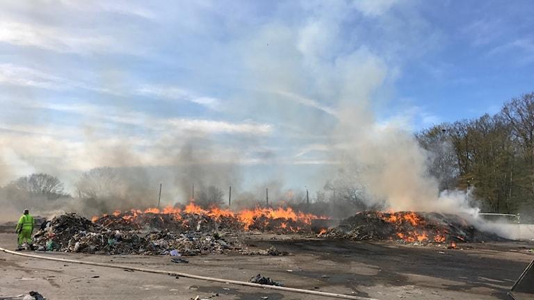 En bild på branden i Ronneby.