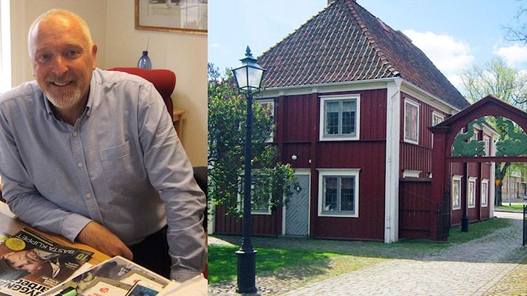 Ett kollage med en bild på Patrik Hansson och en bild på röda stugan i Karlskrona.