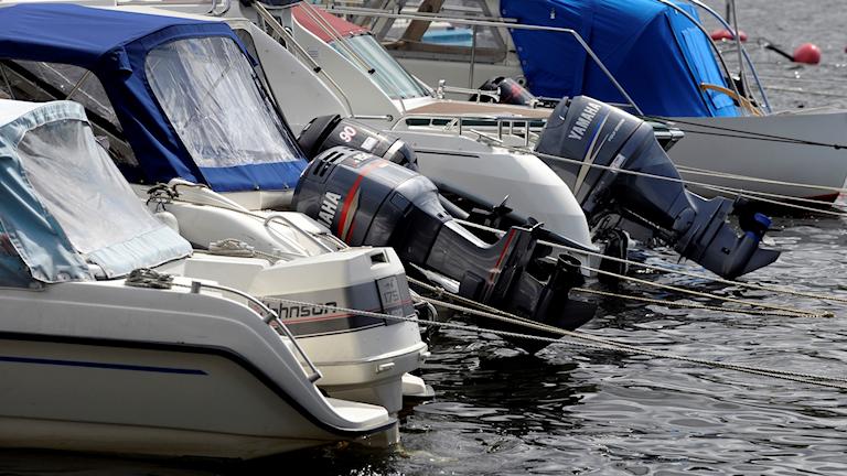 Flera motorbåtar på rad vid brygga.
