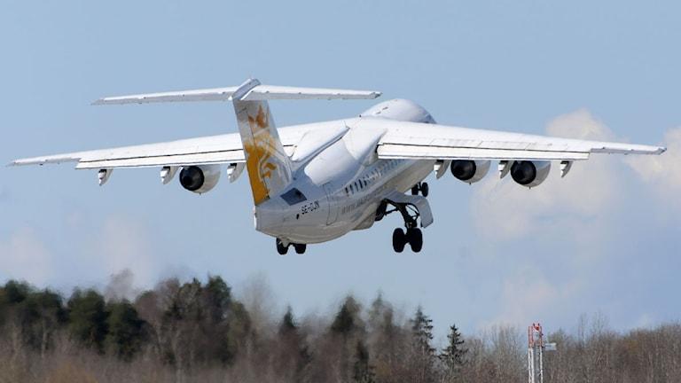 Ett mindre flygplan i luften. Foto: Johan Nilsson/Scanpix.