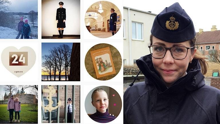 Ett kollage med bilder från Frida Linehagens instagramkonto och en bild på henne själv i militäruniform.