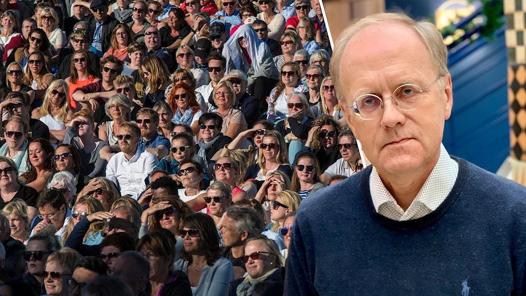 Regionens smittskyddsläkare Bengt Wittesjö och genrebild på en stor publik.