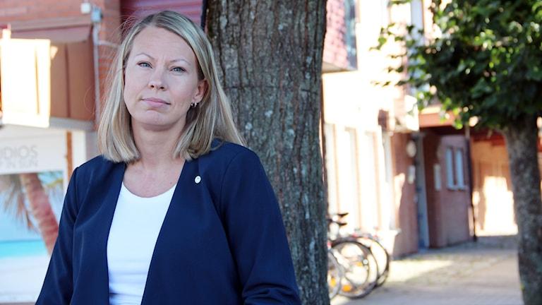 En halvkroppsbild på Sara Rudolfsson, Kommunalråd i Olofström.