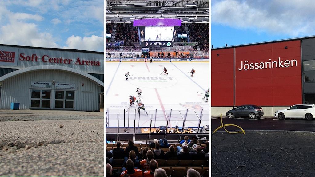 Tre bilder på olika hockeyrinkar i Blekinge.
