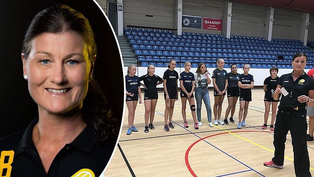 Pernilla Andersson och ungdomar som är på handbollsträning.