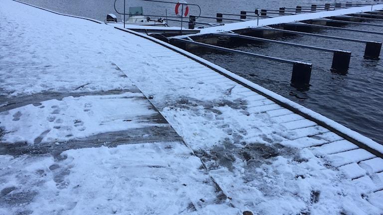 Spår i snön efter bilens däck