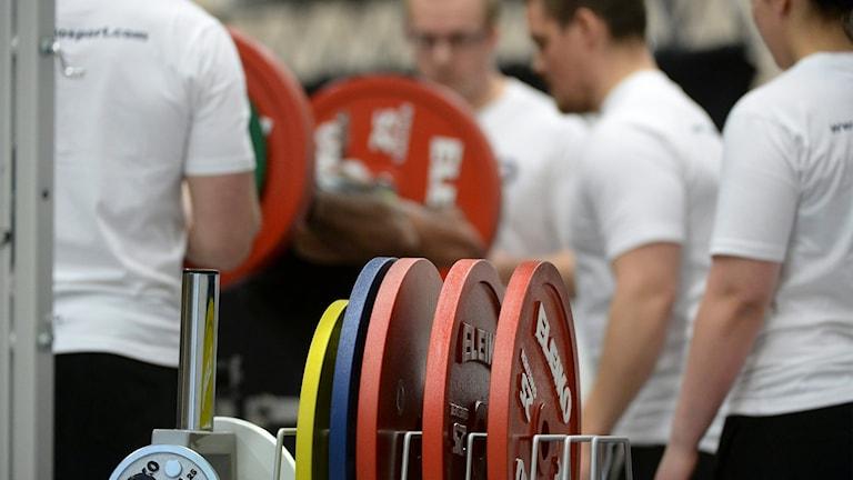 Vikter och människor som tränar styrketräning.