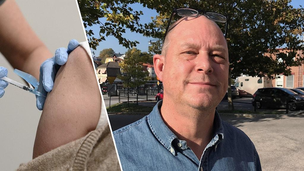 Collage med bild på Mats Berggren och en person som får en spruta i armen.