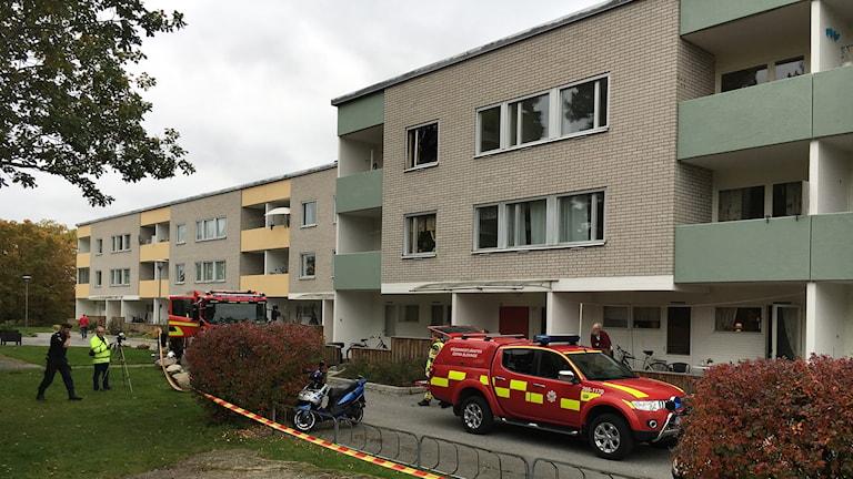 Explosionsartad brand i Ronneby.