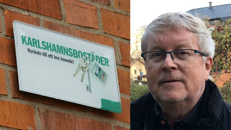 """Närbild på en skylt där det står """"Karlshamnsbostäder"""" och på en man med glasögon."""