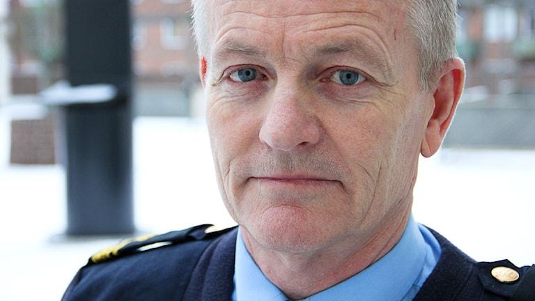 Närbild på polismannen Mats Trulsson. Foto: Peder Broberg/Sveriges Radio.