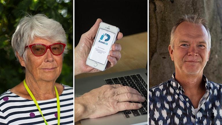 Tre bilder bredvid varandra. En bild på Berith Pagels, en bild på en hand som håller i en mobil och en bild p åMats Wennstig.