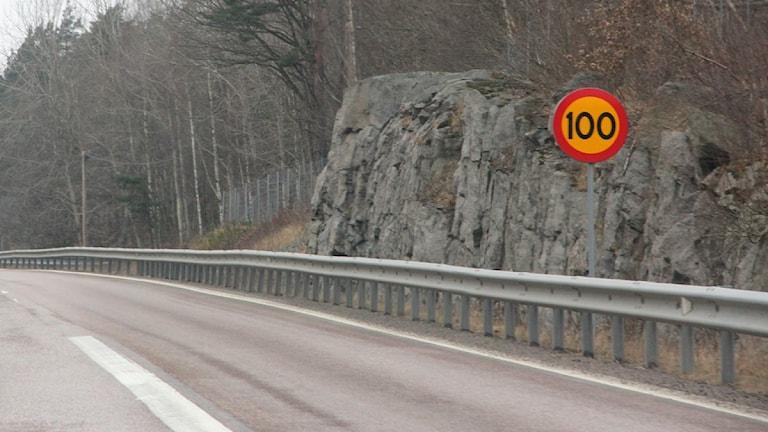 """En del av en motorväg med vägräcke, till höger står en hastighetsskylt som säger """"100"""""""