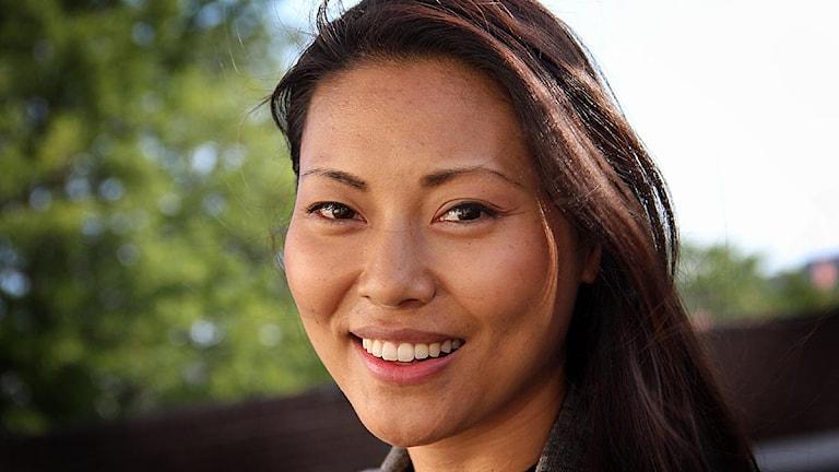 Lisette Pagler, skådespelare och musikalartist från Nättraby. Foto: Daniel Kjellander/Sveriges Radio.