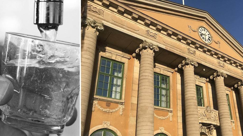 En bild på ett vattenglas och en bild på tingsrätten.